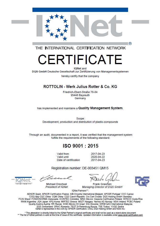 Rottolin-Werk Julius Rotter & Co. KG ISO 9001 : 2015 IQNET