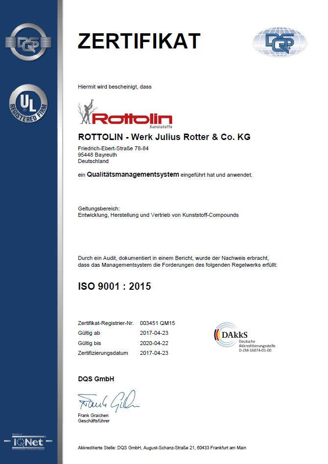Rottolin-Werk Julius Rotter & Co. KG ISO 9001 : 2015 Zertifikat
